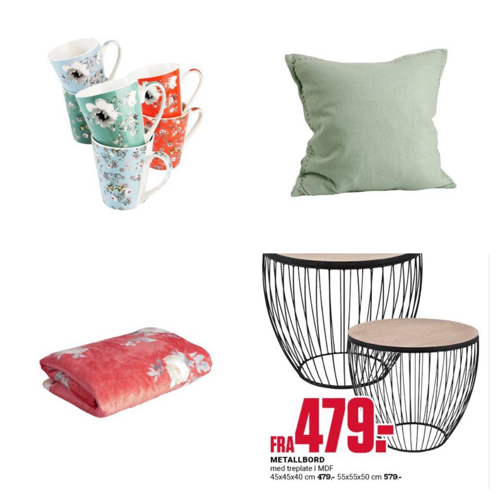 Kopper, pledd, pyntepute og småbord